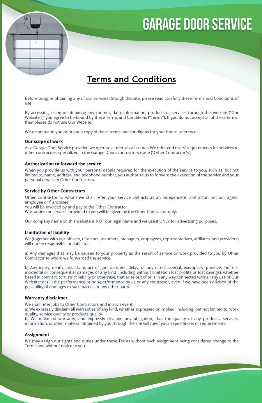 Terms And Conditions Quality Garage Door Service